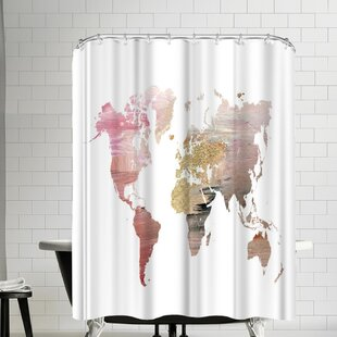 Ikonolexi World Map Single Shower Curtain