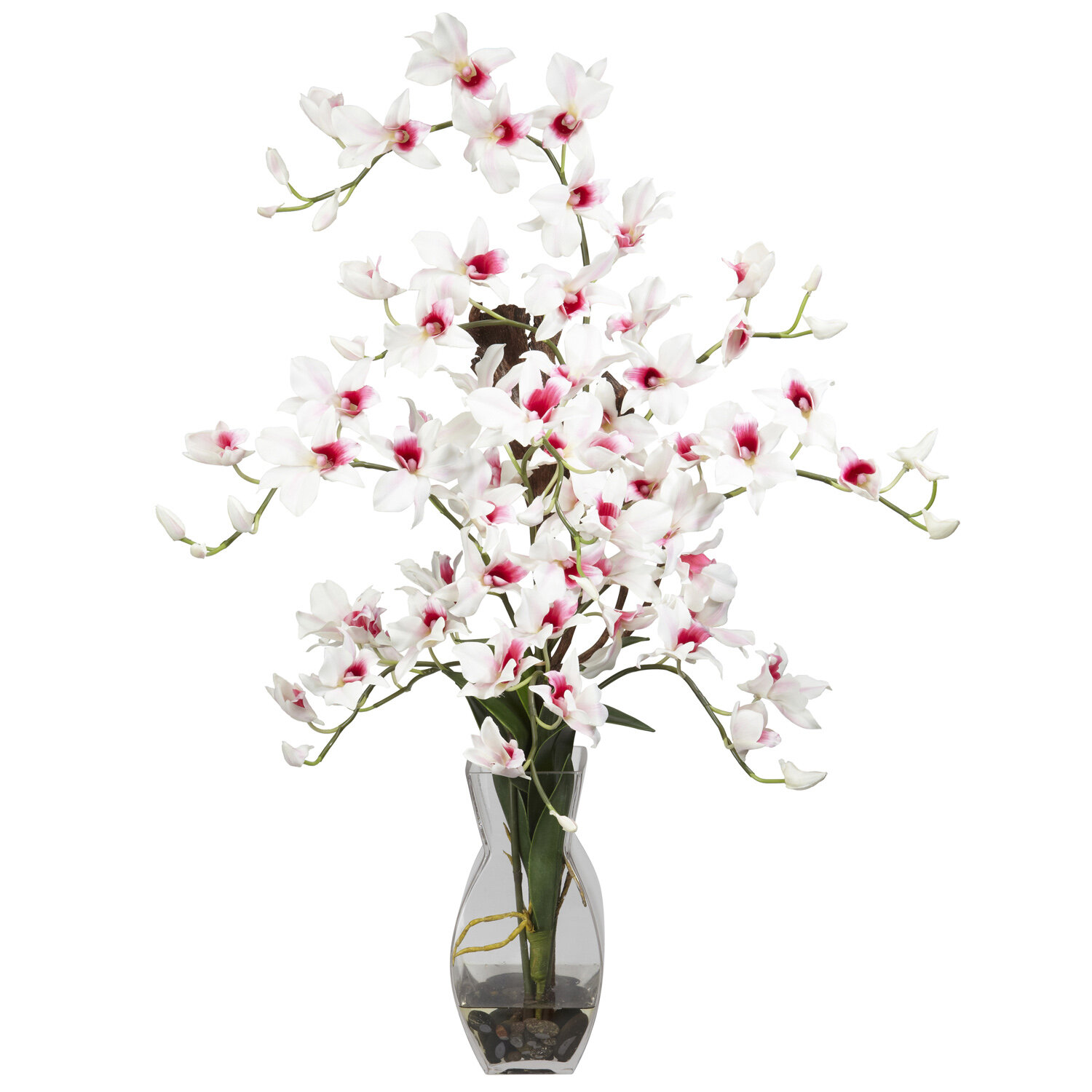 Nearly Natural Dendrobium With Vase Silk Floral Arrangements In