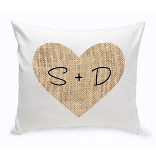 Couple Burlap Heart Throw Pillow