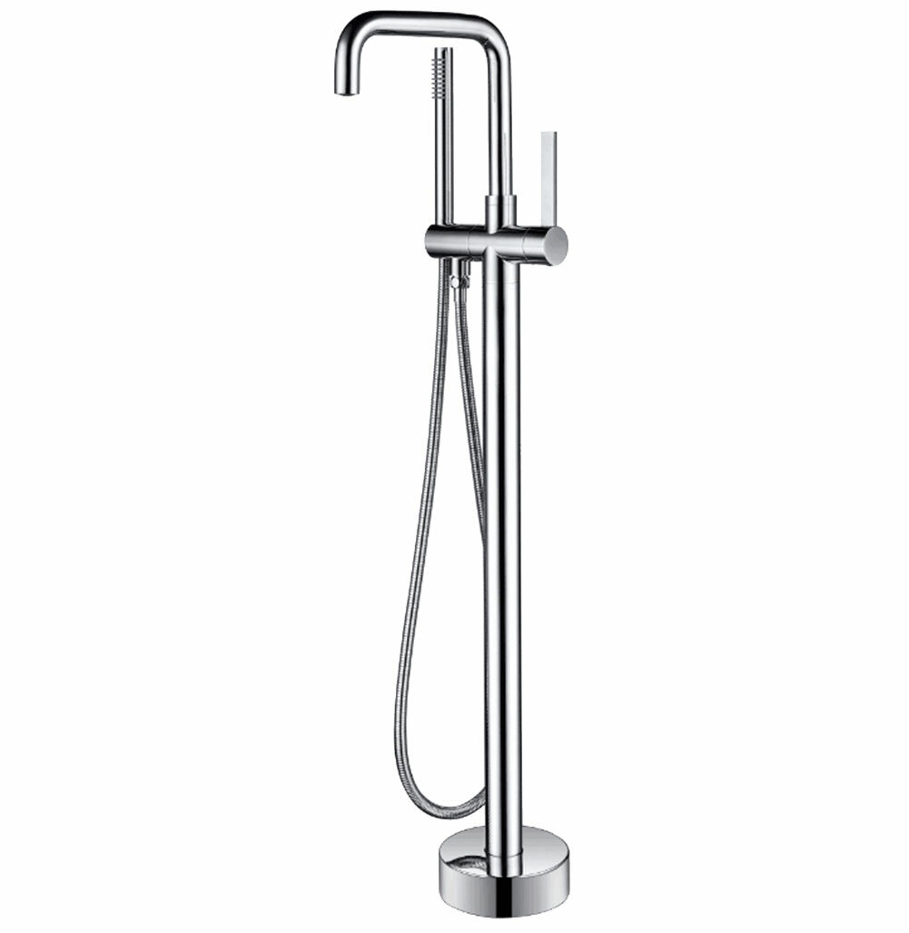 Moray Series Double Handle Floor Mounted Clawfoot Tub Faucet With Handshower