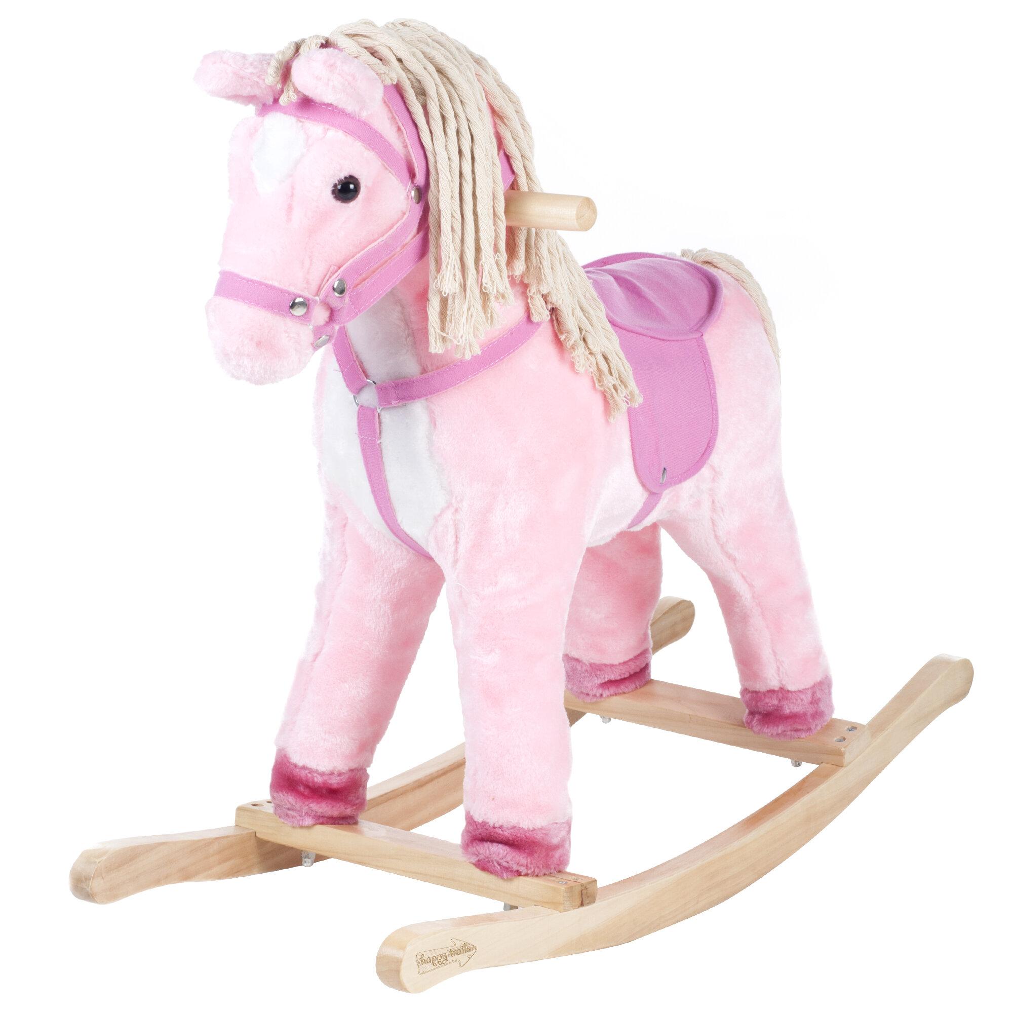 Happy Trails Pink Plush Rocking Pony with Sound