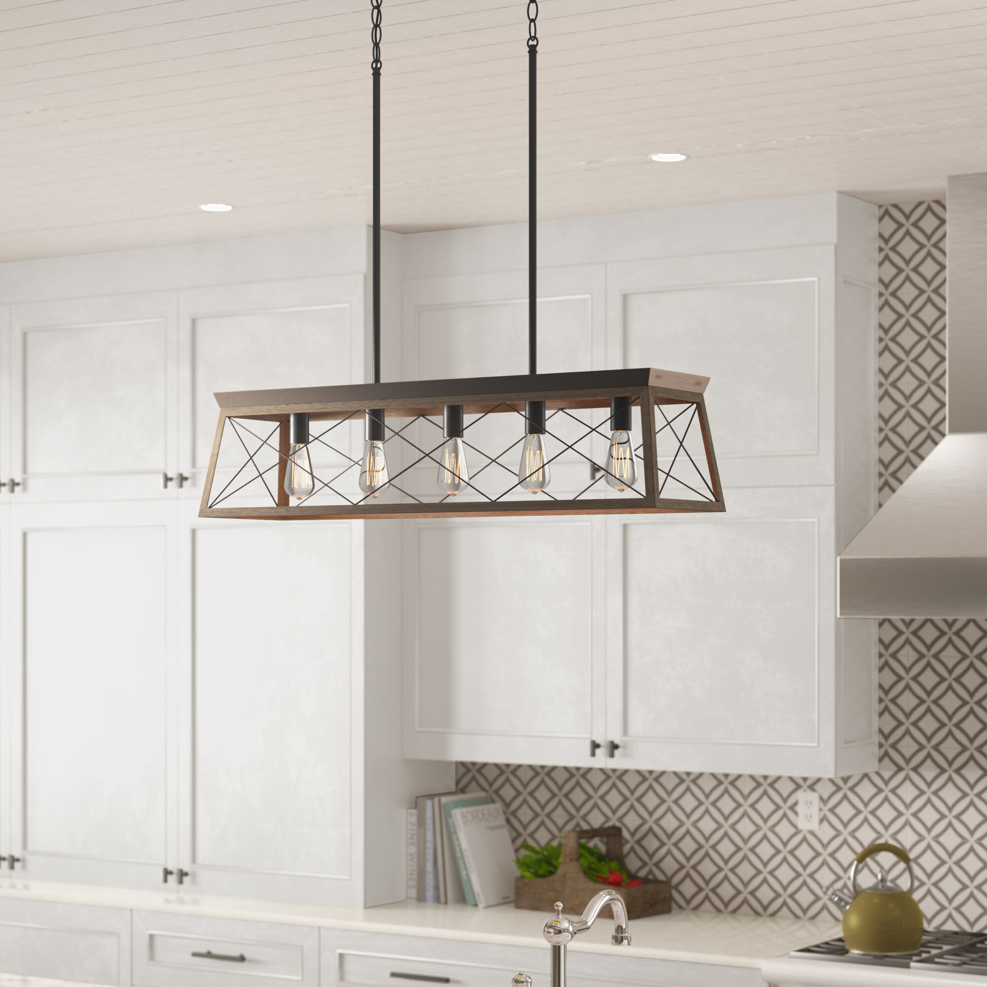 Laurel Foundry Modern Farmhouse Delon 5-Light Kitchen Island Pendant ...