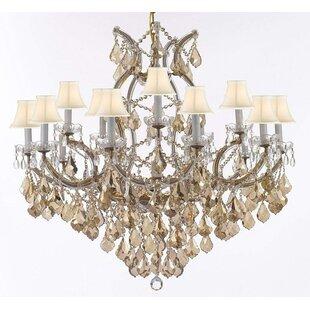 Astoria Grand Carswell Chandelier With Golden Crystal & White Shades