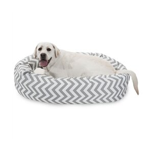 Chevron Sherpa Bagel Bolster Dog Bed