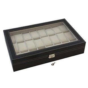 24 Slot Glass Top Watch Box By Rebrilliant