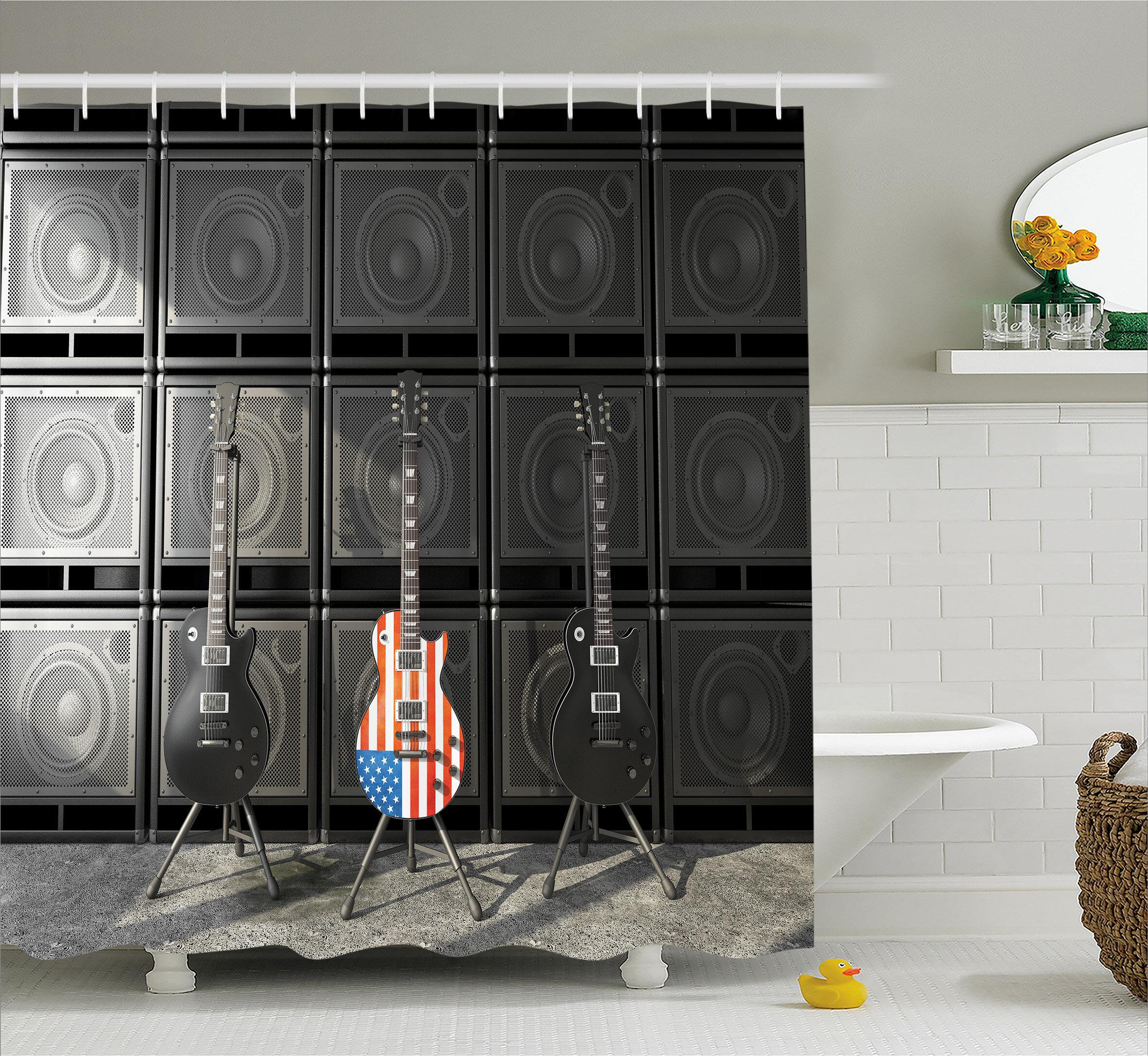 East Urban Home Bass Guitar Decor Shower Curtain Wayfair