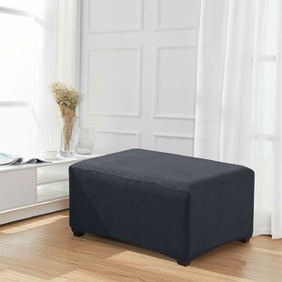 Jacquard Stretch Fabric Oversized Box Cushion Ottoman Slipcover