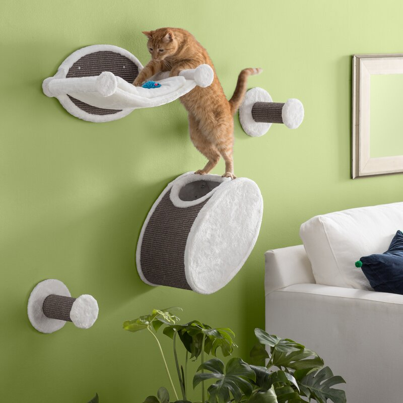 Gray/White Gabby 4 Piece Wall Mounted Cat Tree by Archie & Oscar