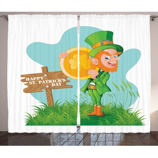 St. Patrick's Day Graphic Print and Text Semi-Sheer Rod Pocket Curtain Panels (Set of 2) by The Holiday Aisle