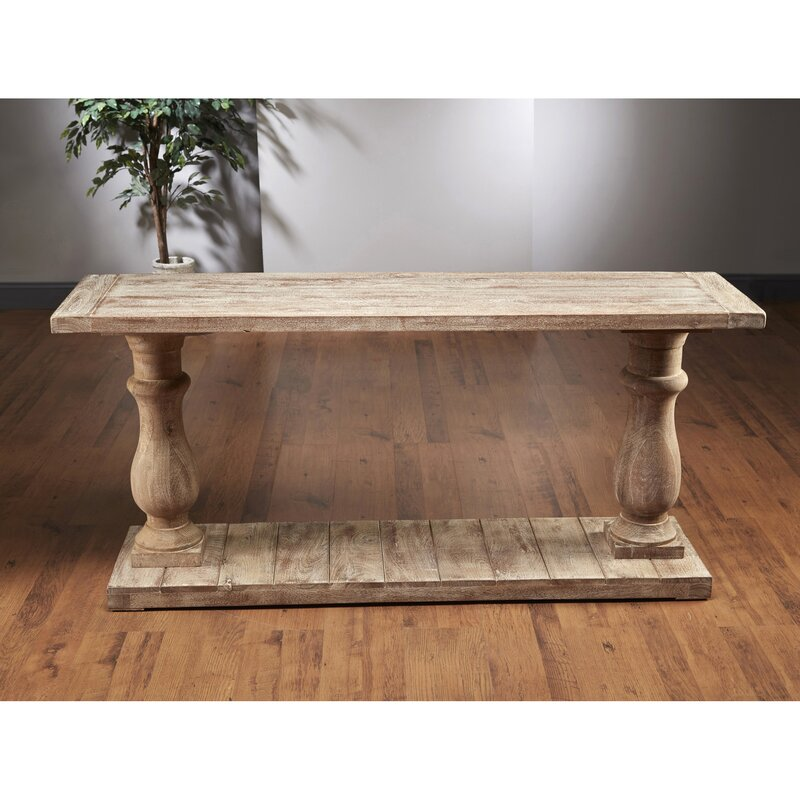 AA Importing Column Console Table  Color: Weathered Gray