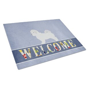 Welcome Dog Glass Maltese Cutting Board By Caroline's Treasures