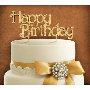 Happy Birthday Wooden Cake Topper ByaMonogram Art Unlimited