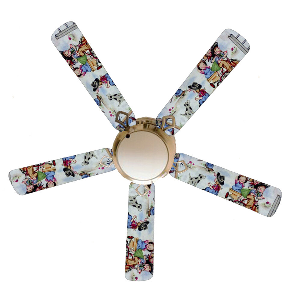 52 Spriggs Rodeo Kids Cow 5 Blade Ceiling Fan Light Kit Included