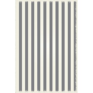 Read Reviews Coutee Strips of European Gray/White Indoor/Outdoor Area Rug By Ebern Designs