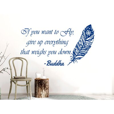 Downey Quotes Feather Buddha Wall Decal