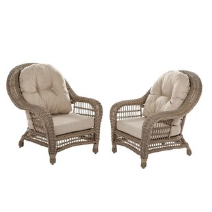 Alley Outdoor Garden Patio Chair with Cushion (Set of 2)