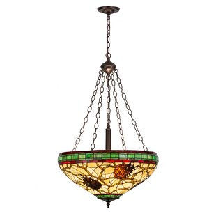 Meyda Tiffany Pinecone 4-Light Bowl Pendant Light