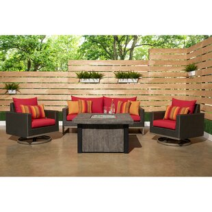 Minor Motion 4 Piece Rattan Sunbrella Sofa Set With Cushions by Wade Logan