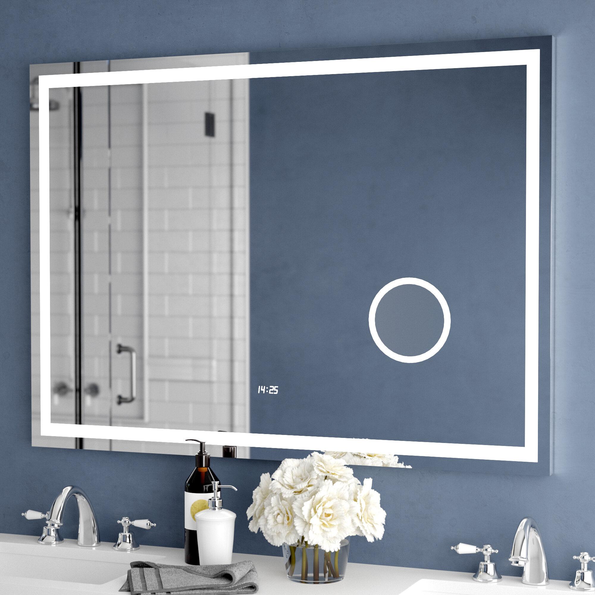 Orren Ellis Electric With Clock Bathroom Vanity Mirror Reviews Wayfair