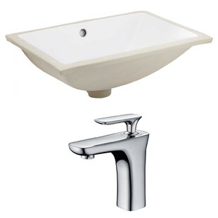 Online Reviews Ceramic Rectangular Undermount Bathroom Sink with Faucet and Overflow ByAmerican Imaginations