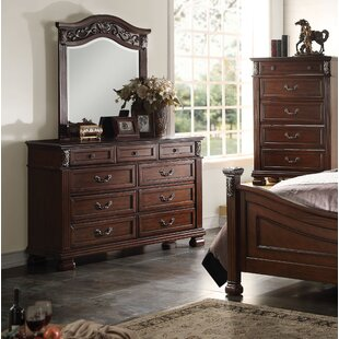 Eggert 9 Drawer Double Dresser with Mirror