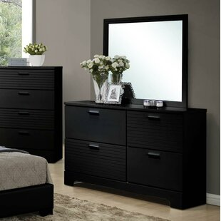Wildon Home ® Moderno 4 Drawer Double Dresser with Mirror