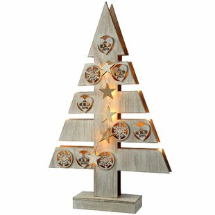 pre lit star and heart wood christmas tree table decoration - Large Wooden Christmas Decorations