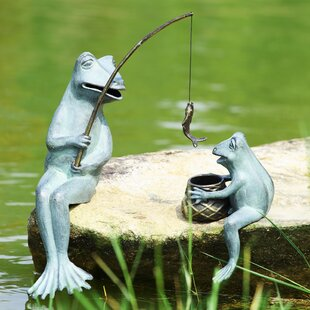 Charmant Fishing Frog Mama And Baby Garden Statue