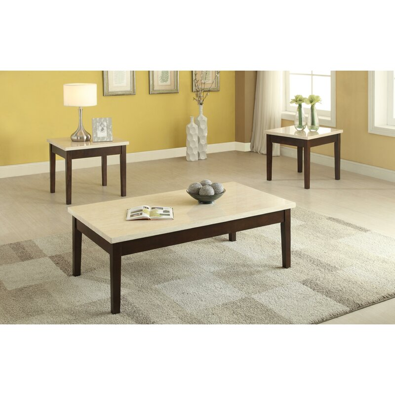 Winston Porter Denico Wooden 3 Piece Coffee Table Set With Faux Marble Top  | Wayfair
