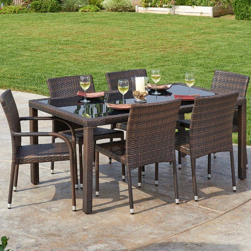 Gentil 7 Piece Outdoor Wicker Dining Set