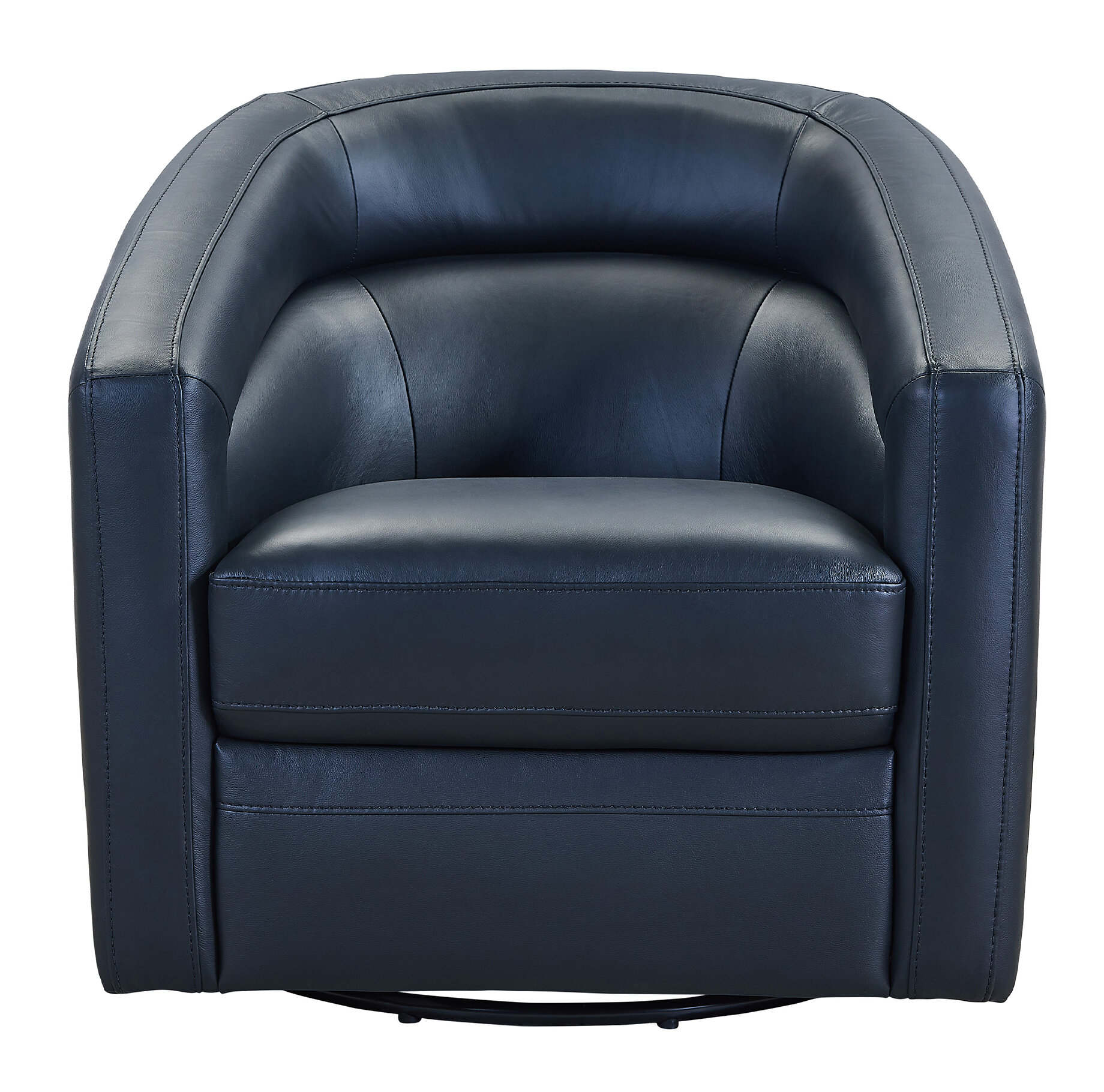 Merveilleux Silloth Contemporary Genuine Leather Swivel Barrel Chair