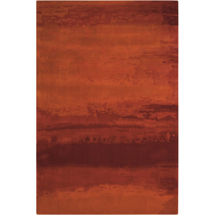 Lustre Wash Wool Russet Tones Rust Area Rug