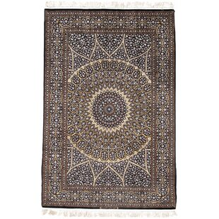 One-of-a-Kind Persian Isfahan Hand-Knotted 4'10 x 7'6 Wool/Silk Beige/Black Area Rug ByPasargad NY