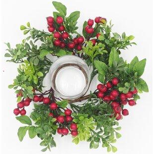 Christmas Boxwood and Berry Glass Hurricane