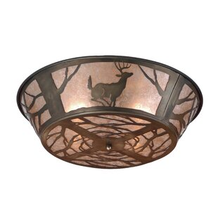 Meyda Tiffany Deer on the Loose 4-Light Flush Mount