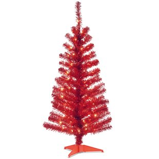 tinsel trees 4 red artificial christmas tree with 70 clear lights and stand - American Sales Christmas Trees