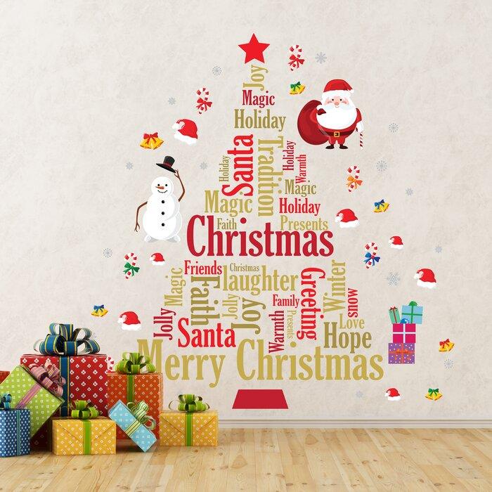 English Quote Christmas Tree Santa Wall Decal