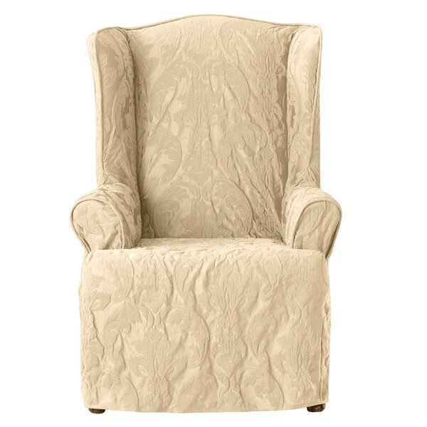 Sure Fit Matelasse Damask T Cushion Wingback Slipcover U0026 Reviews | Wayfair