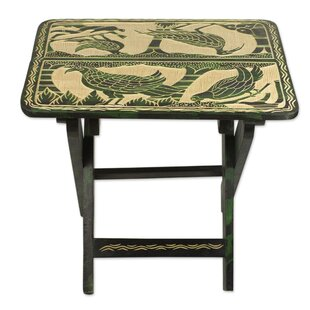 Burslem Jungle of Birds Wood Folding End Table by Bloomsbury Market