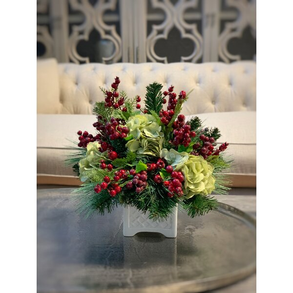 Embellished Hydrangeas Floral Arrangement In Pot Reviews Birch Lane