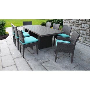 TK Classics Barbados 9 Piece Outdoor Patio Dining Set with Cushions