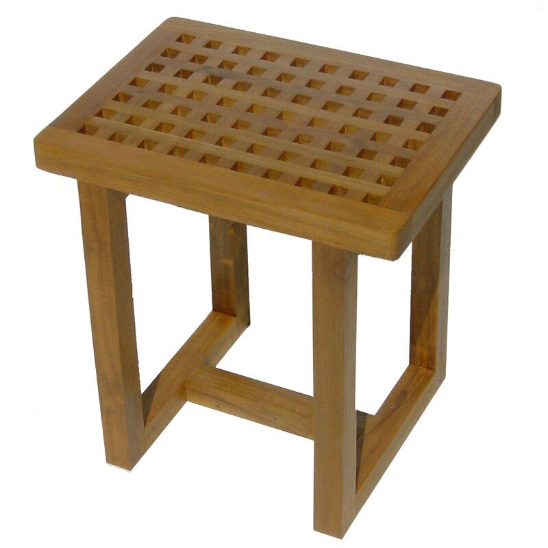 Symple Stuff Contemporary Teak Wood Shower Seat & Reviews | Wayfair