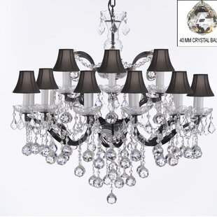 Rosdorf Park Clemence 18-Light Black Shaded Chandelier