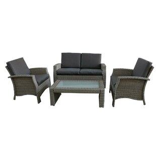 Brayden Studio Fiorillo 4 Piece Rattan Sofa Set with Cushions
