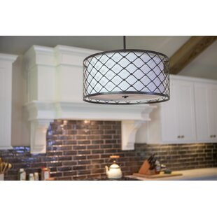 Charlton Home Cristal Metal Overlay 3-Light Drum Pendant