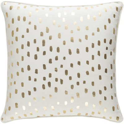 Ivy Bronx Yahya Contemporary Cotton Throw Pillow Color: White/ Metallic Gold