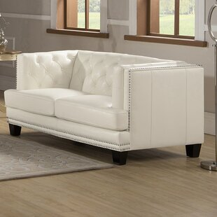 Crewellwalk Leather Chesterfield Loveseat