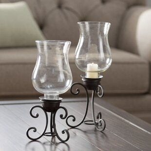 Glass Candlestick Set (Set of 2) by Fleur De Lis Living