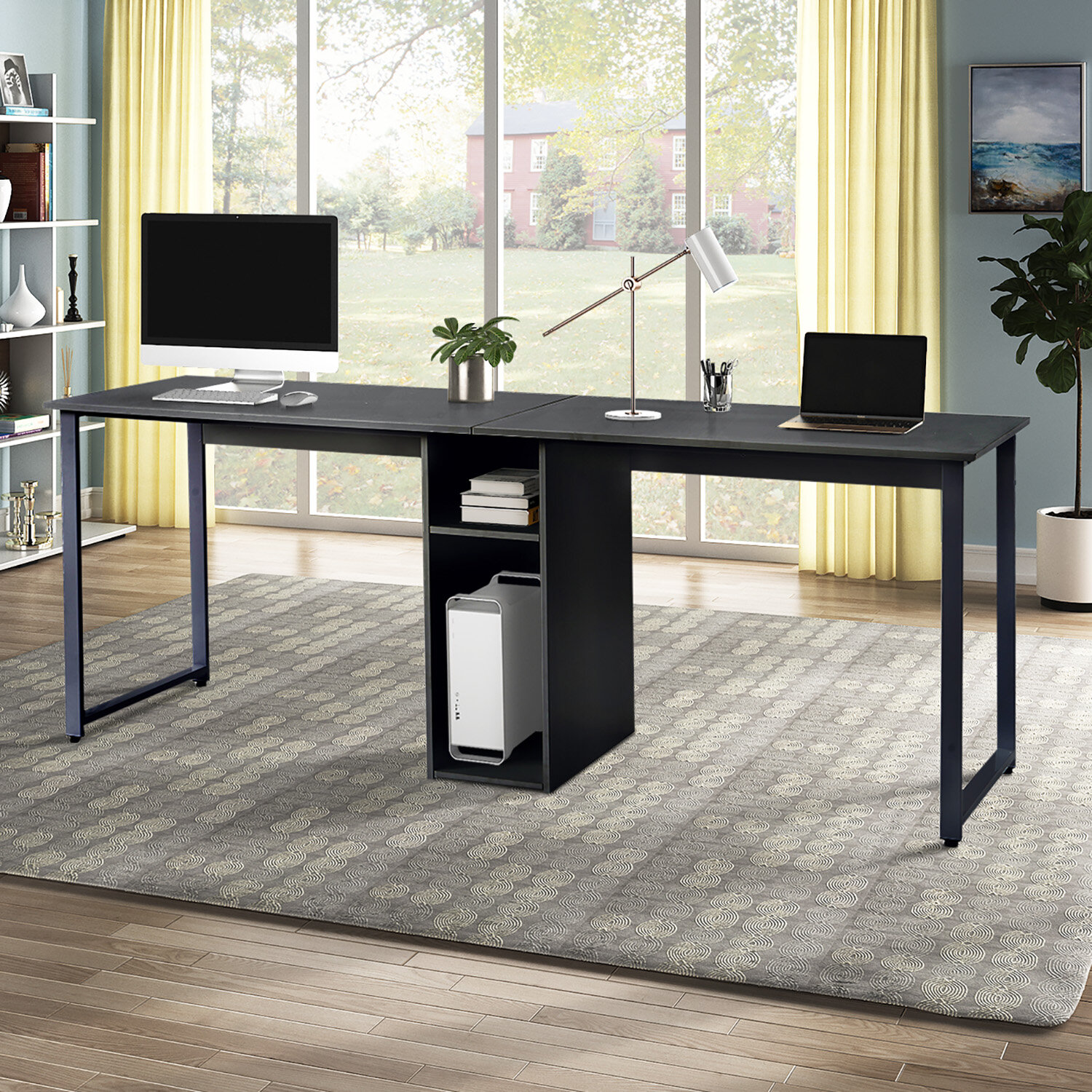 Latitude Run Home Office 2 Person Desk Large Double Workstation Desk Writing Desk With Storage Wayfair Ca