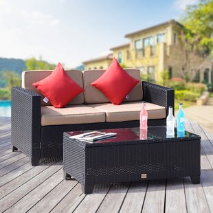 Julia 2 Piece Rattan Sofa Set with Cushions